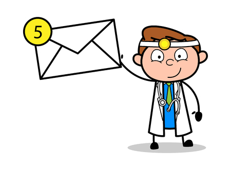 Cartoon Doctor Showing a Message Vector Illustration Ilustrace