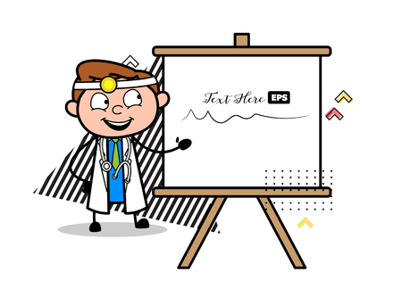 Cartoon Young Doctor with Presentation Board Vector
