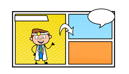 Cartoon Doctor Presenting Empty Comic storyboard Vector Illustration