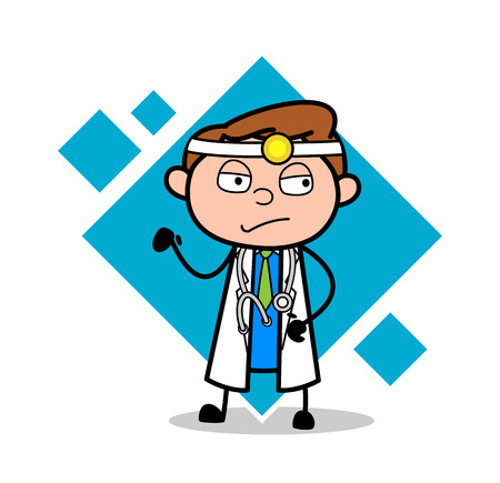Cartoon Doctor Sad Face Expression Vector