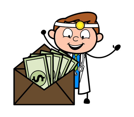 Happy Cartoon Doctor with Dollars in Envelope Vector Ilustrace