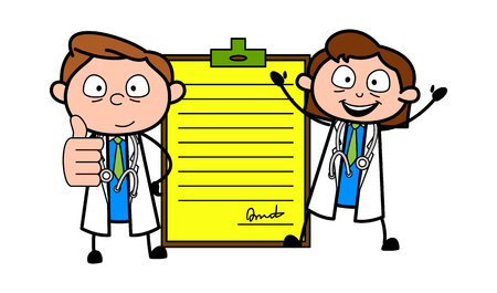 Young Cartoon Doctors with Report Vector