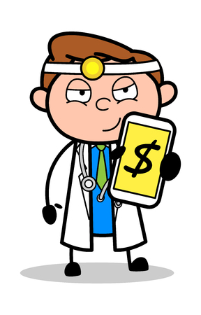 Cartoon Doctor Showing Cash Balance in Mobile