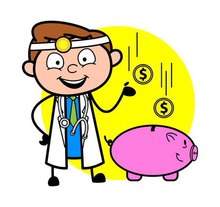 Cartoon Doctor with Piggy Bank - Saving Concept Vector Illustration