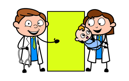 Cartoon Doctors with baby and Banner Vector Illustration