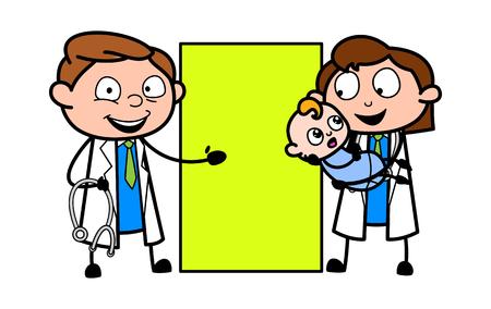 Médicos de dibujos animados con el bebé y la ilustración de Vector de Banner Ilustración de vector
