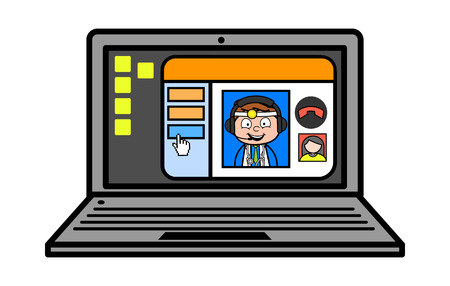 Cartoon Doctor Doing Video Chat with Patient Vector Concept