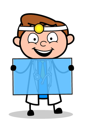 Happy Cartoon Doctor Holding a Blank Glass Board Vector