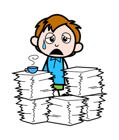 Tired Cartoon Office Boy with Lots of Office Files Vector Illustration Ilustrace