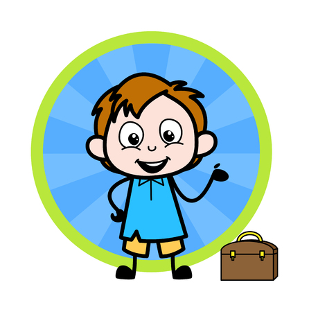Cartoon Office Boy Presenting Pose Vector Illustration Ilustração