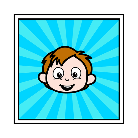 Cute Cartoon Boy Face Expression Vector Illustration