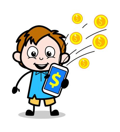 Cartoon Boy Presenting Rewards in Mobile Vector Illustration
