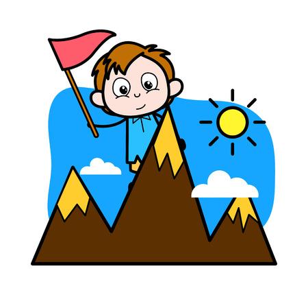 Cartoon Boy Achieve His Target Vector Illustration