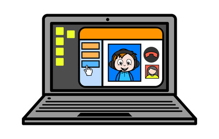Cartoon Boy Doing Video Chat Vector Illustration Ilustrace