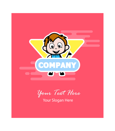 Cartoon Boy Business Greeting Template Vector Illustration