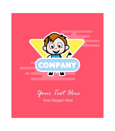 Cartoon Boy Business Greeting Template Vector Illustration