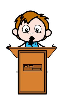 Cartoon Boy Giving Speech Vector Illustration