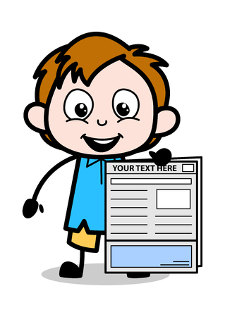 Cartoon Boy Presenting a Newspaper Vector Illustration Ilustrace