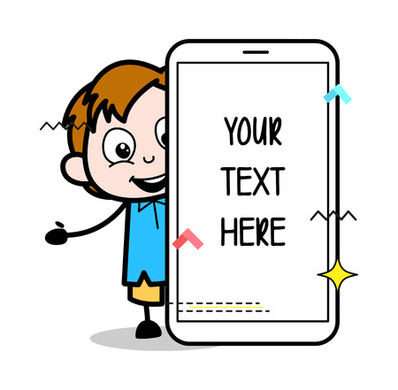 Cartoon Boy Presenting a Smartphone Banner Vector Illustration