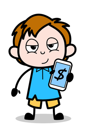 Cartoon Boy Showing Income in Mobile Vector Illustration