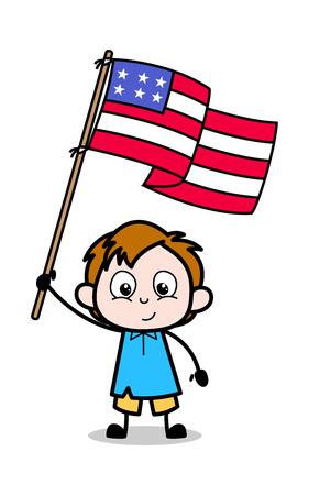 Cartoon Boy Holding a American Flag Vector Illustration