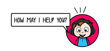 Happy Cartoon Boy Asking for Help Vector Illustration