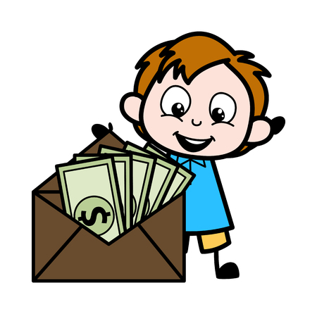 Cartoon Boy with Currency Envelope Vector Illustration