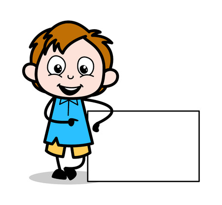Cartoon Boy Presenting Blank Ad Banner Vector Illustration