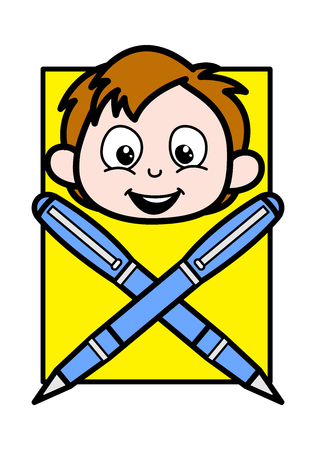 Cartoon Boy Face with Pens Vector Illustration
