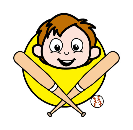 Cartoon Boy Face with Baseball Vector Illustration