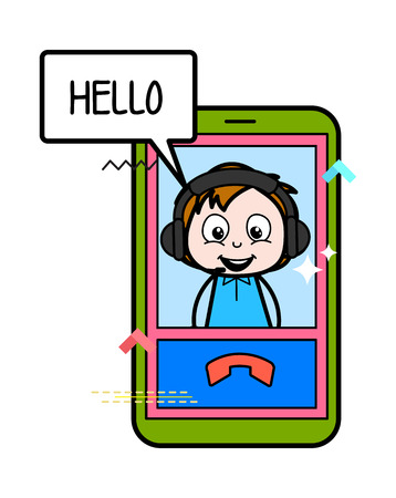 Cartoon Boy Over the Video Call Vector Illustration