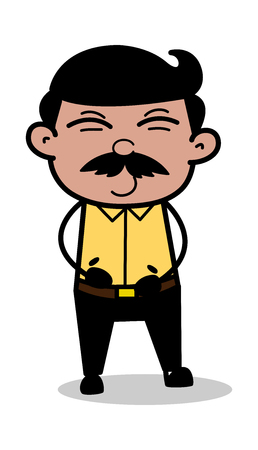 Happiness - Indian Cartoon Man Father Vector Illustration