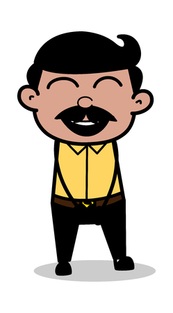 Laughing Loudly - Indian Cartoon Man Father Vector Illustration 일러스트
