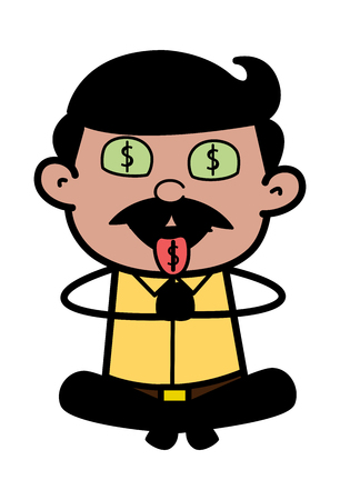 Money Chanting - Indian Cartoon Man Father Vector Illustration