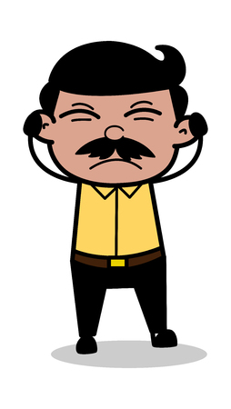 Getting Irritated - Indian Cartoon Man Father Vector Illustration Ilustrace