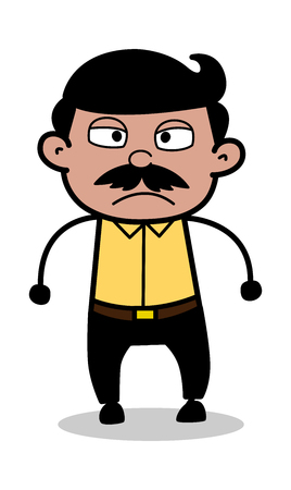 Aggression - Indian Cartoon Man Father Vector Illustration