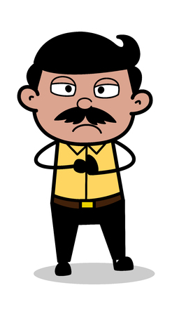 Annoyed - Indian Cartoon Man Father Vector Illustration