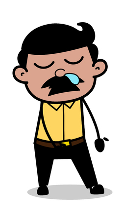 Sleepy Face with Running Nose - Indian Cartoon Man Father Vector Illustration Illustration