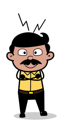 Happy Standing - Indian Cartoon Man Father Vector Illustration