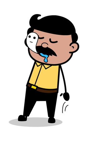 Soul Goes Out from Body - Indian Cartoon Man Father Vector Illustration