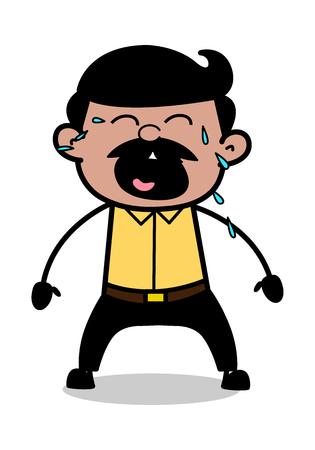 Sobbing - Indian Cartoon Man Father Vector Illustration