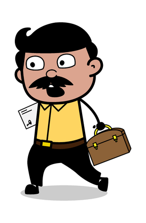 Hurry for Office - Indian Cartoon Man Father Vector Illustration