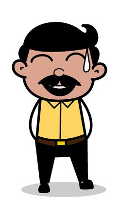 Laughing on bad Joke - Indian Cartoon Man Father Vector Illustration