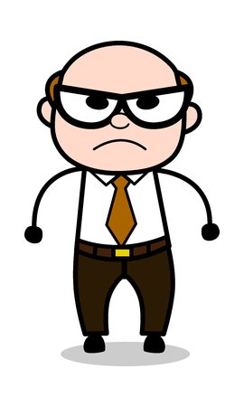 Unhappy - Retro Cartoon Office old Boss Man Vector Illustration Illustration