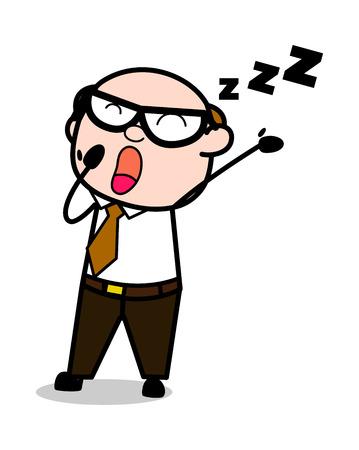 Yawning - Retro Cartoon Office old Boss Man Vector Illustration Ilustração