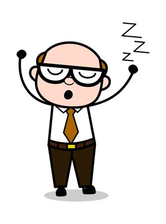 Sleepy - Retro Cartoon Office old Boss Man Vector Illustration Illustration