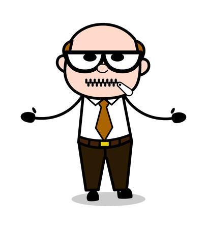 Zipper-Mouth - Retro Cartoon Office old Boss Man Vector Illustration Illustration