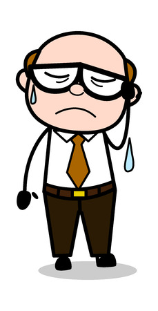 Very Upset - Retro Cartoon Office old Boss Man Vector Illustration 向量圖像
