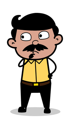 Thinking - Indian Cartoon Man Father Vector Illustration
