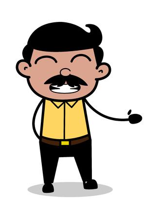 Irritating Gesture - Indian Cartoon Man Father Vector Illustration